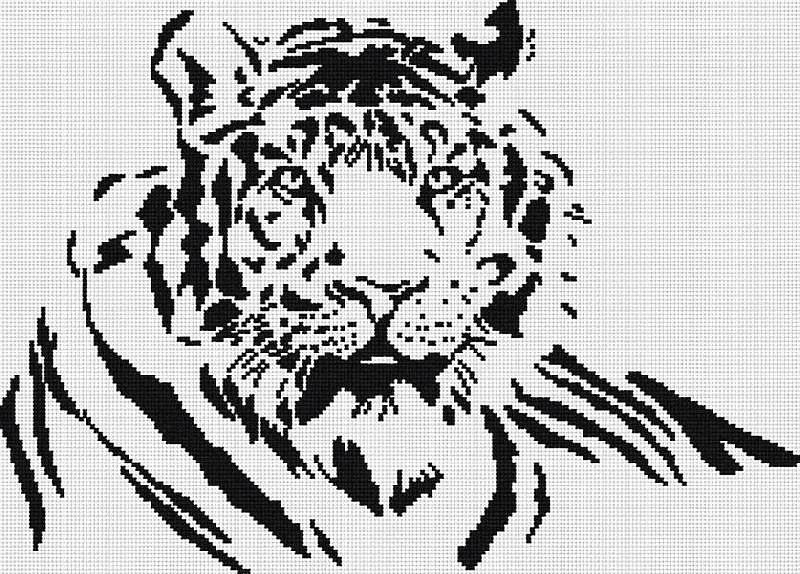 Черно-белая вышивка крестом схемы
