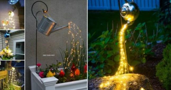 Сделайте изящное украшение для сада из светящейся гирлянды…