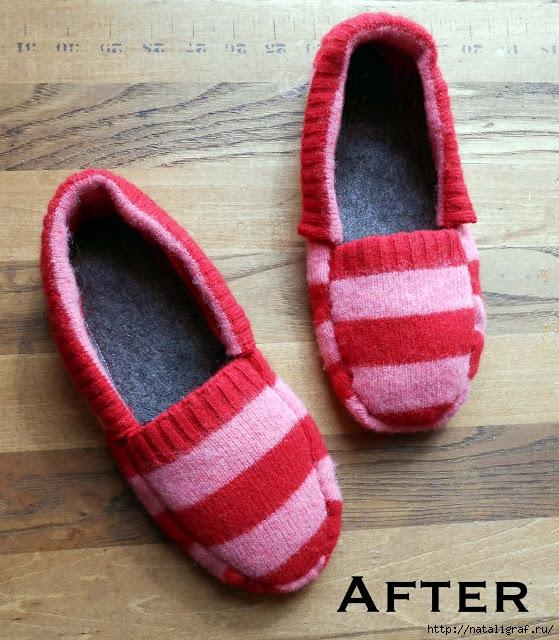 Тёплая домашняя обувь из свитера