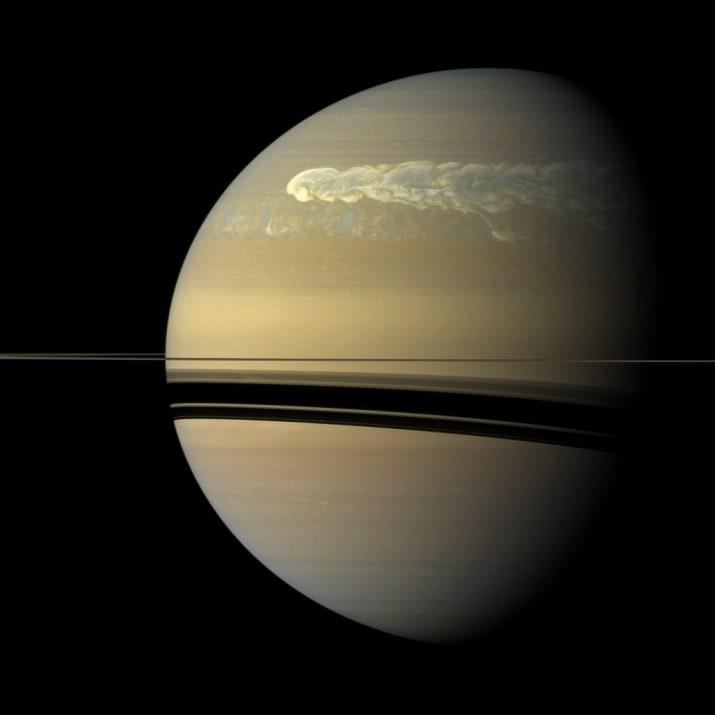 Так выглядит шторм в Северном полушарии Сатурна ТУМАННОСТИ, звезды, космический телескоп, космос, необычно, планеты, снимки, фото