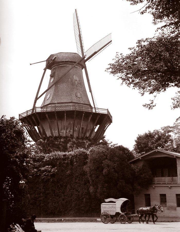 Ветряная мельница в парке Сан-Суси, Потсдам, Германия ХХ век, винтаж, восстановленные фотографии, европа, кусочки истории, путешествия, старые снимки, фото