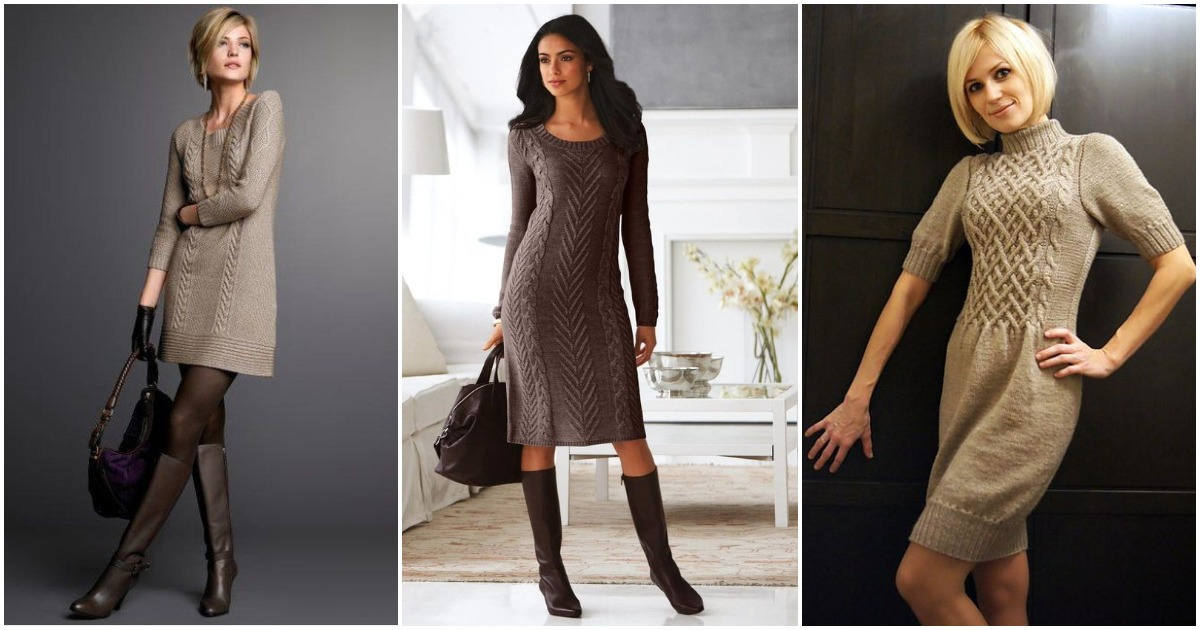 Теплая осень: стильные вязанные платья и туники