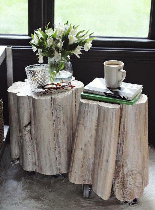 Старый деревянный пень может пригодиться для создания кофейного столика.