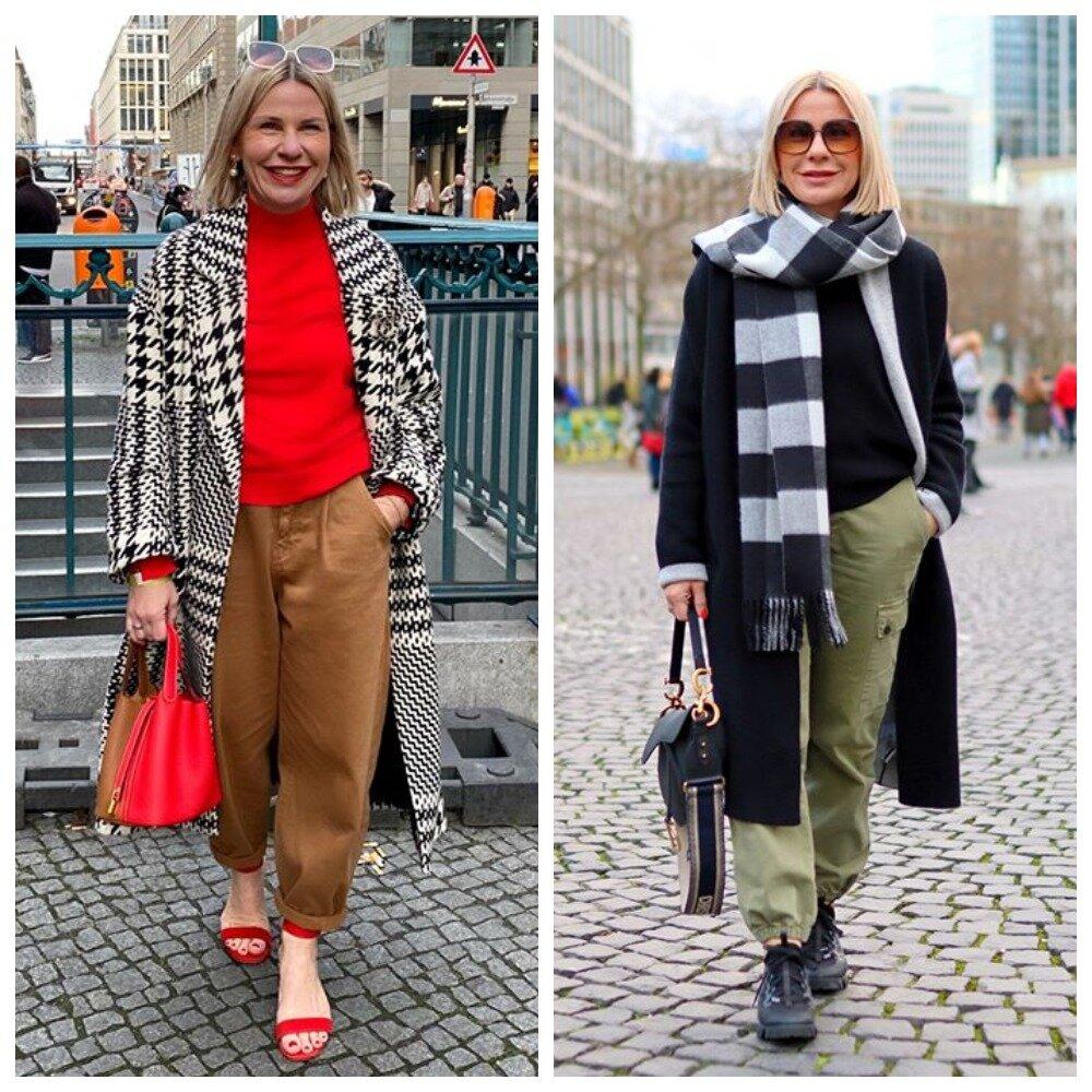 Модель выглядит богато в одежде в клетку, модно и современно