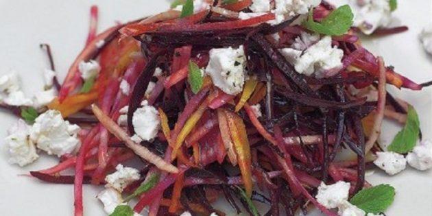 Салат из свежей свёклы с грушей и фетой от Джейми Оливера