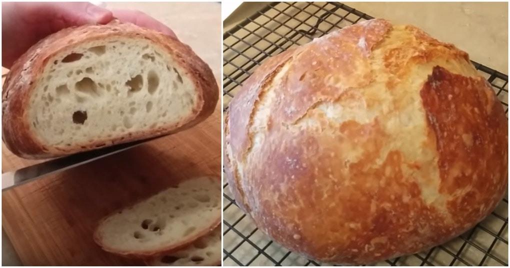 Быстрый хлеб без замеса на французский манер