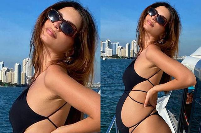 Беременная Эмили Ратажковски отдыхает на яхте и делится снимками в бикини