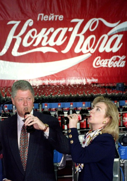 Визит на московский завод Coca-Cola, 1995 год.