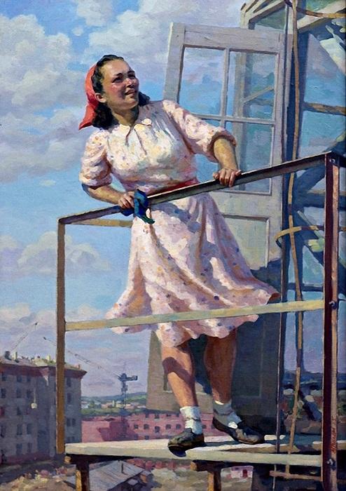 «Крановщица». (1955 год). Автор: П.Григорьев-Савушкин.