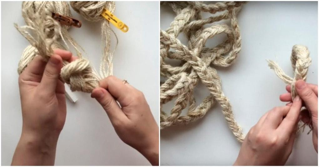Простая идея плетеной корзины из джута
