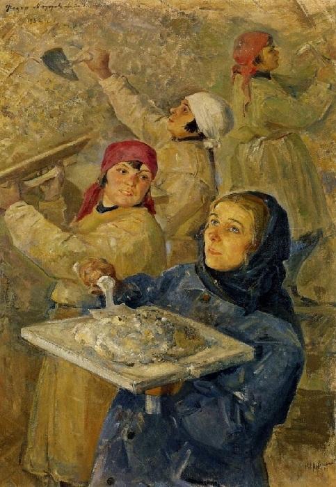 «Ударная комсомольская бригада штукатурщиц.» (1932 год). Автор: Модоров Федор.