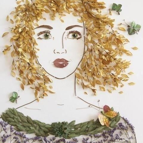 Чудесные иллюстрации из заcyшенных цветов и листьeв творчество,флористика