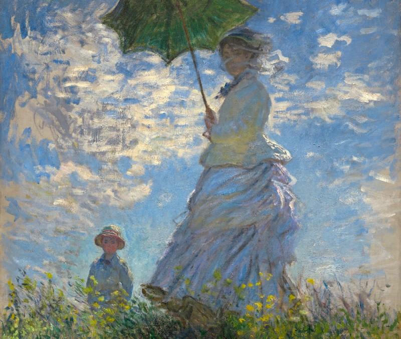 """Фрагмент работы Клода Моне """"Дама с зонтом. Мадам Моне с сыном."""", 1875 г."""