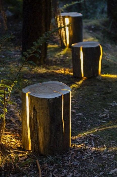 Интересный вариант преображения двора при помощи светящихся пней.