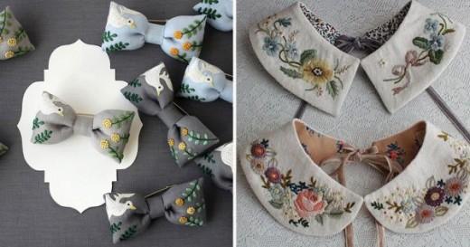 Модные вышитые аксессуары: воротники, галстуки-бабочки, сумки… 20 супер идей!