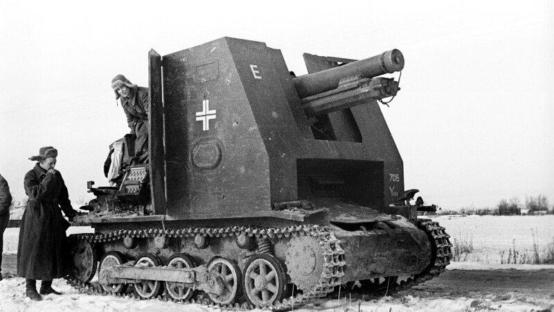 Немецкая САУ siG33(sf) захваченная Советскими солдатами в боях под Москвой #Фотографии, #история, #факты, .война