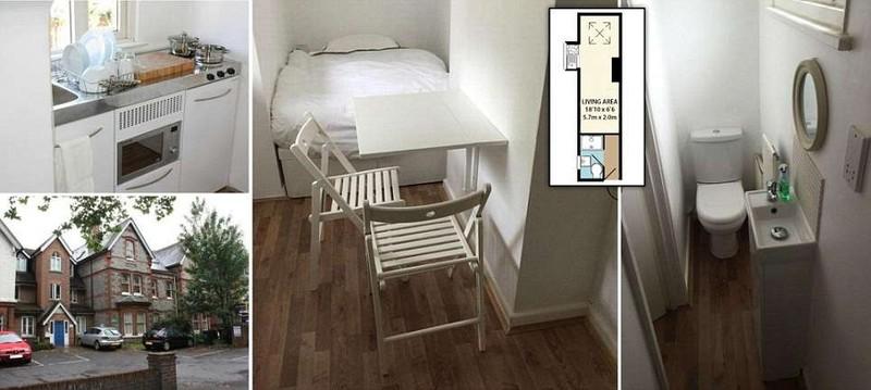 Крошечная квартира шириной 2 метра за 170 тыс. долларов в Великобритании