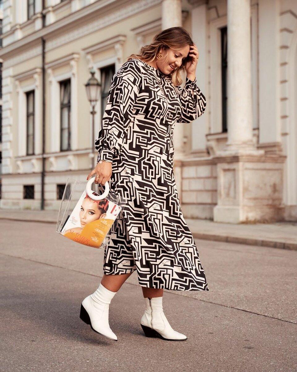 Берем пример: модный немецкий блоггер показала, как стильно одеваться с весом в 90 кг образ, женщин, черный, цвета, платье, белый, размером, модного, выравнивает, дополняет, Пальто, гаммаНемецкая, классического, покроя, удачно, цветовая, пропорции, акцентируя, внимание, плюсах
