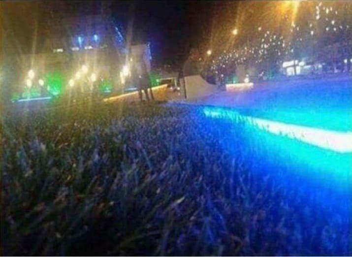 Это снимок с многолюдного концерта - или газон, освещенный фонарем? двусмысленность, истории с подвохом, необычно, неоднозначно, оптические иллюзии, фото, фотография, что это было