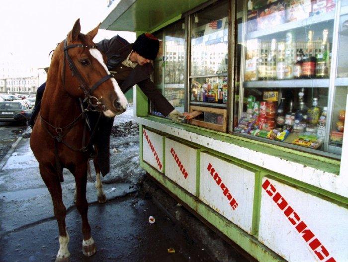 Казак на лошади покупает водку в киоске после парада в Москве.