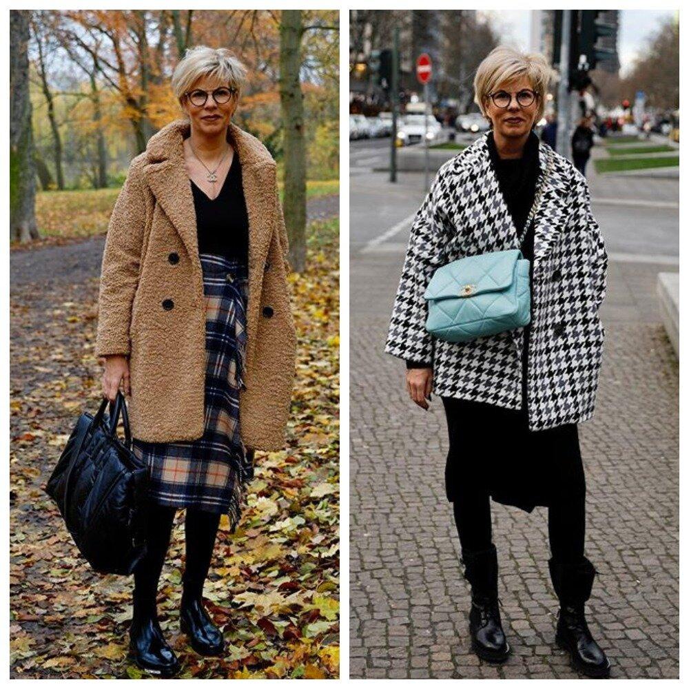 Клетчатая юбка - это стильно, равно как и пальто в черно-белых тонах
