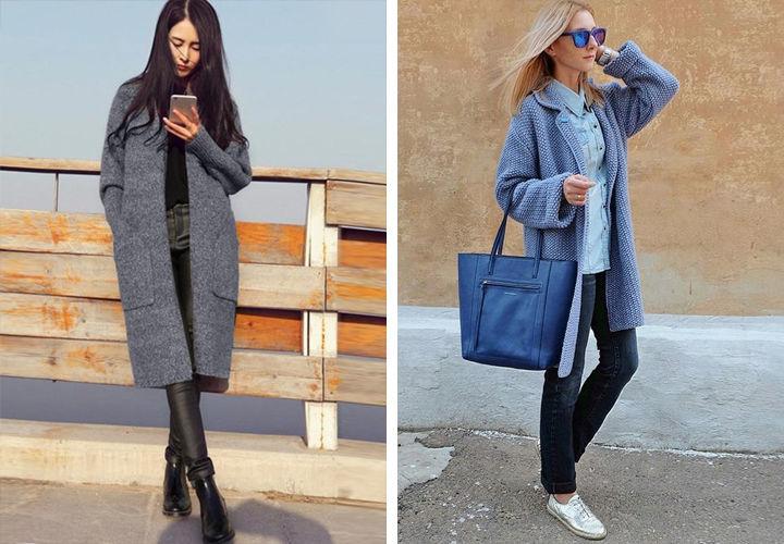 Вязаное пальто - фото