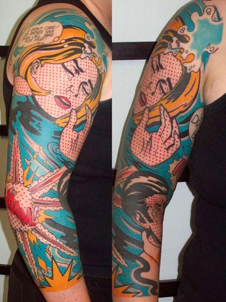 5. Тонущая женщина. Сюжет татуировки базируется на комиксе. креатив, тату
