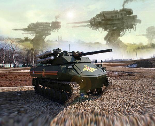 """Российский робот-танк «Уран-9» выстрелил шесть раз в Сирии, подвеска и пушка сломались, и по радио """"не-алё"""" новости,события"""