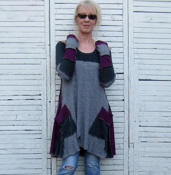 Reserved for Maria Long Sweater Tunic Upcycled by AnikaDesigns: