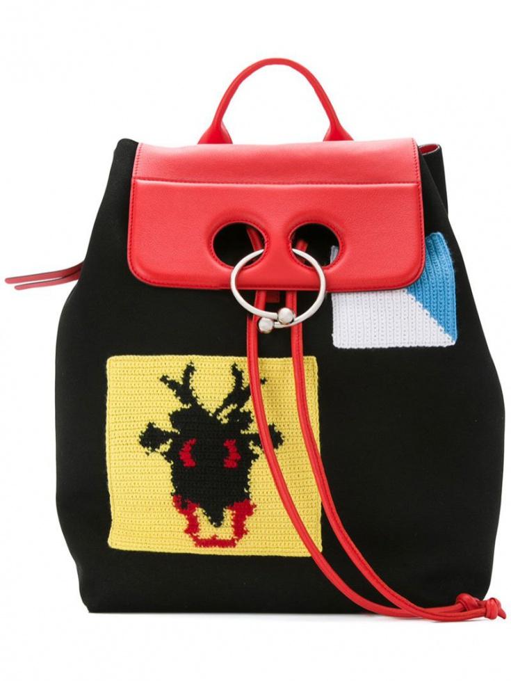 Рюкзак с вязаными аппликациями J.W. Anderson