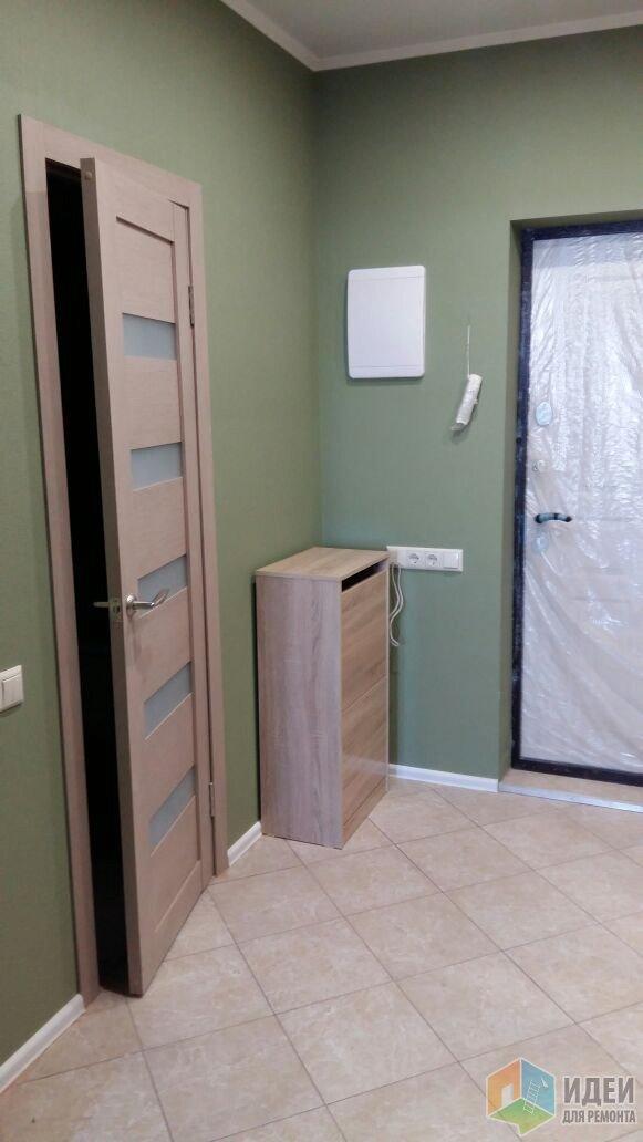 Дверь в санузел из прихожей, обувница, над ней планируется настенная вешалка