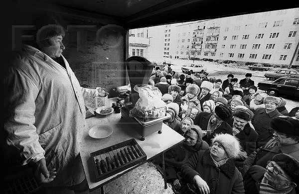 Продовольственная очередь в СССР. Вторая половина 80-х. интересно, история, фото