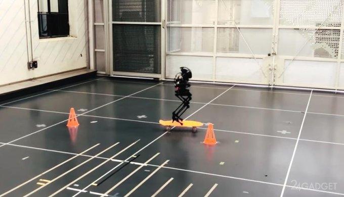 Этот робот ходит по канату, катается на скейтборде и перелетает через препятствия