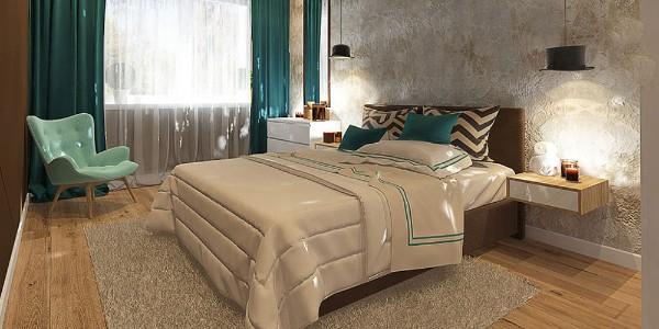 бежевый ковёр на полу в спальне