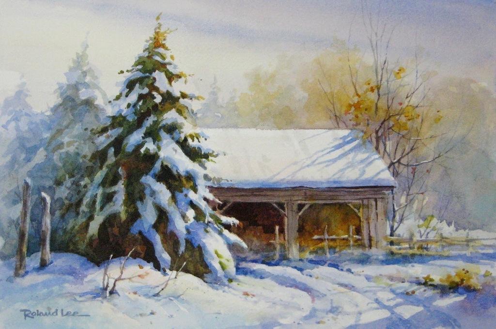 Зима картинки акварелью, картинки