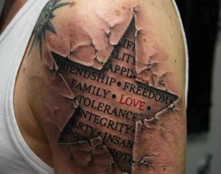 9. Любовь. Одна из лучших татуировок на военную тематику. Самое важное слово выделено красным. креатив, тату