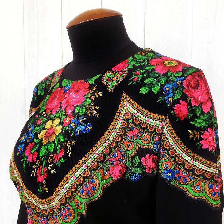 Декорируем платье русским платком: мастер-клас