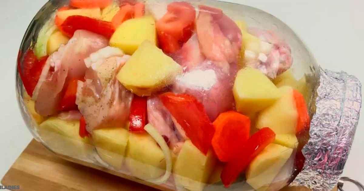 Интересный пошаговый рецепт куриных голеней с овощами в банке