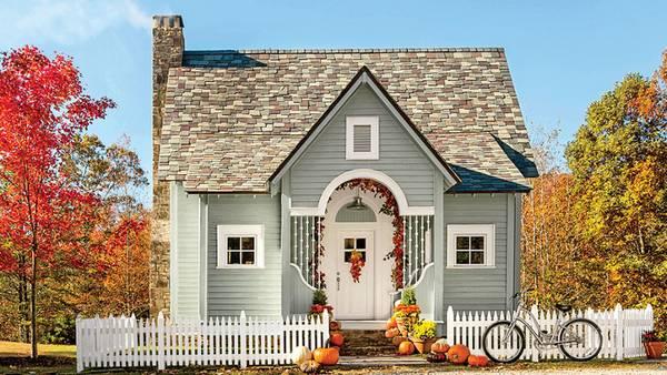 красивый одноэтажный дом с эркером, фото 102