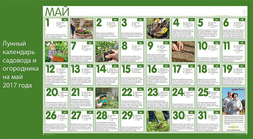 Лунный посевной календарь на май 2017 год