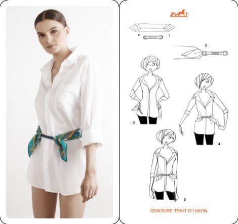 Крутая деталь на одежде: идеи использования тонкого платка одежда,рукоделие,своими руками,сделай сам
