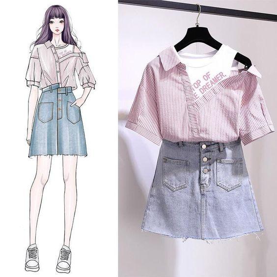 Рисунки рубашка с юбкой