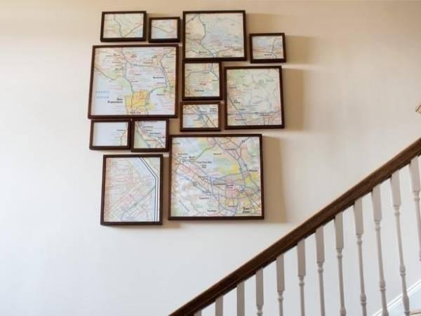 Географические карты как декор для стен