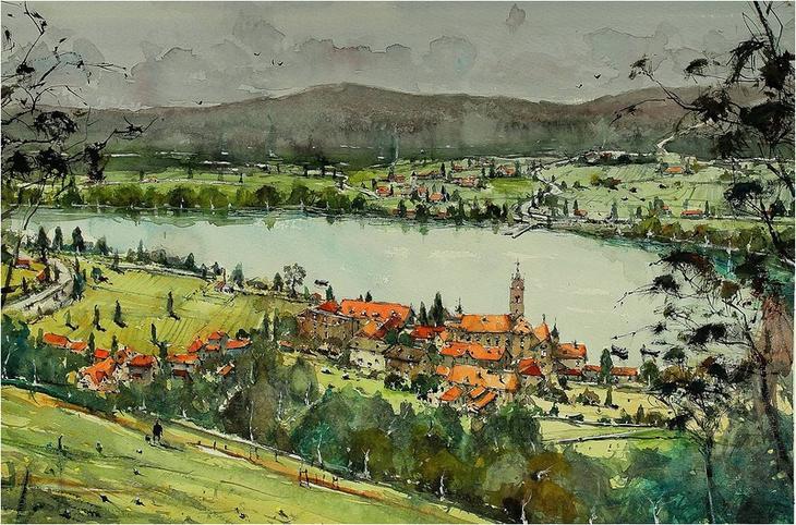 Акварельные пейзажи художника Максимилиана Дамико (Maximilian Damico)