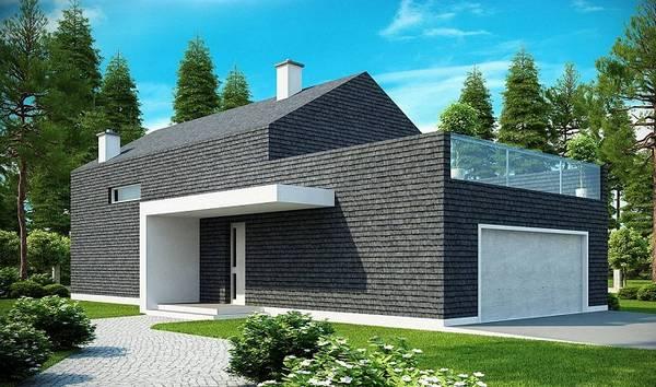 красивые одноэтажные дома с гаражом, фото 80