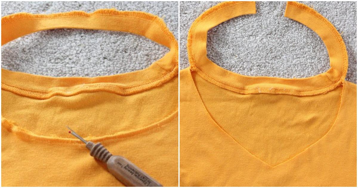Превратите круглый вырез футболки в V-образный