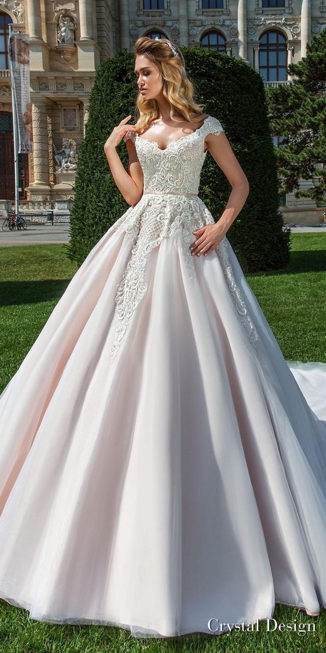 crystal design 2018 cap sleeves v neck heavily embellished bodice pink ball gown wedding dress v back royal train (anika) mv