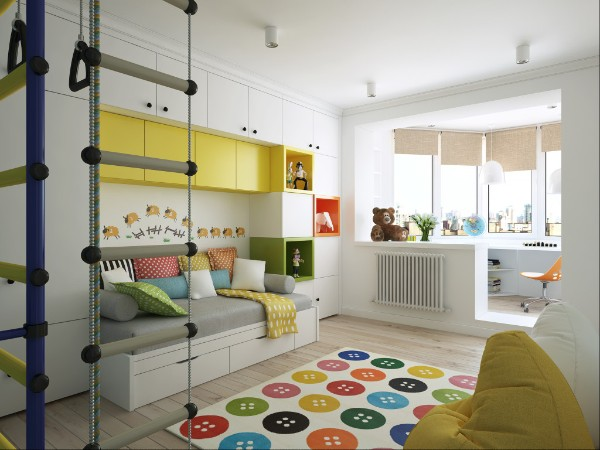 ковёр белого цвета с пилой расцветкой на полу в детской