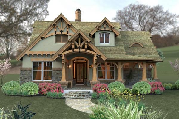 красивые одноэтажные дома с мансардой, фото 57