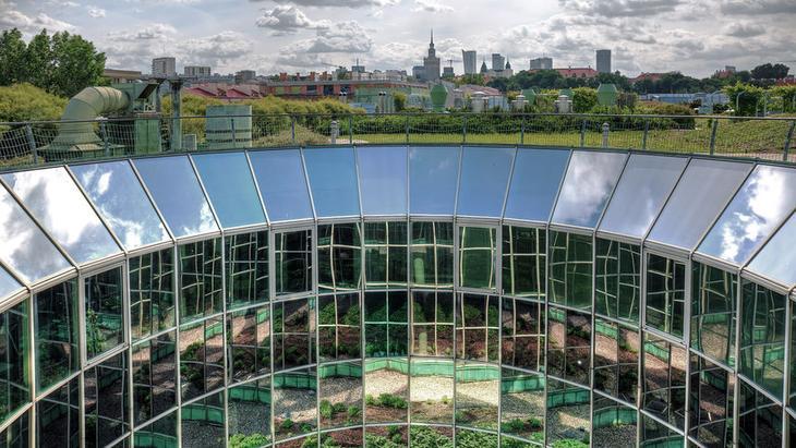 Вид на центр города с крыши библиотеки Университета Варшавы